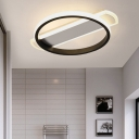 Hoop Passage Flushmount Lighting Acrylic LED Simple Close to Ceiling Lamp in White/Black with Arc Rectangle Canopy, Warm/White Light