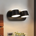 2 Lights Bedside Wall Light Sconce Modern Black LED Adjustable Wall Lamp with Drum Metal Shade