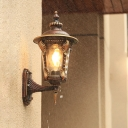1-Head Wall Mounted Light Farmhouse Outdoor Sconce Lamp with Water Glass Shade in Coffee