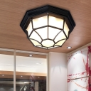 1 Light Octagonal Flush Mount Light Farmhouse White/Black Finish Milk Glass Flush Lamp Fixture for Bedroom