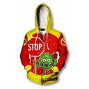 Fancy Trendy Mens Long Sleeve Drawstring Zip Up Letter STOP Virus Graphic Color Block Relaxed Fit Hoodie in Red