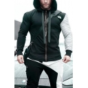 Creative Guys Long Sleeve Drawstring Zipper Front Pleated Patchwork Pattern Fit Hoodie in Black