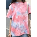 Classic Streetwear Girls Short Sleeve Crew Neck Tie Dye Loose Fit Tee Top in Pink