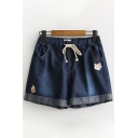 Leisure Womens Drawstring Waist Fox Embroidered Rolled Cuffs Relaxed Denim Shorts