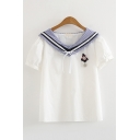 Preppy Looks White Short Sleeve Sailor Collar Bow Tied Boat Anchor Pin Stripe Panel Relaxed Blouse Top for Girls