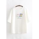 Basic White Short Sleeve Round Neck Butter Pattern Oversize T-Shirt for Ladies