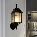 Aluminum Black Wall Sconce Cuboid 1-Light Farmhouse Wall Mount Fixture with Frosted Glass Shade