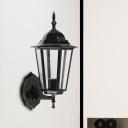 Black Finish Geometric Sconce Light Fixture Farmhouse Clear Glass 1 Bulb Outdoor Wall Lamp