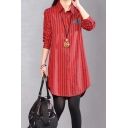 Retro Womens Long Sleeve Lapel Neck Button Down Floral Embroidered Stripe Print Curved Hem Tunic Loose Fit Shirt