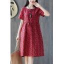 Fancy Fashion Girls Short Sleeve Round Neck Ditsy Floral Printed Linen Drawstring Waist Midi Swing Dress