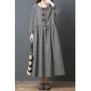 Casual Womens Long Sleeve Round Neck Frog Button Checker Printed Ruched Linen Maxi Oversize Dress in Black