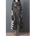 Popular Fashion Roll Up Sleeve V-Neck Button Up All Over Floral Pattern Linen and Cotton Maxi Oversize Shirt Dress in Black