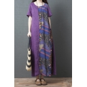 Vintage Ethnic Womens Short Sleeve Round Neck Floral Pattern Panel Cotton and Linen Long Oversize Dress in Purple