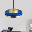 Round Pendulum Light Minimal Metallic 1 Head Blue Finish Suspension Pendant for Living Room