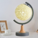 Spherical Rattan Desk Lighting Asian 1 Bulb Grey/White/Green Finish Night Table Light for Bedroom
