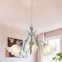 Blue 3/6/9 Bulbs Chandelier Lamp Romantic Pastoral Frosted White Glass Scalloped Suspension Light for Living Room
