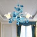 Ivory Glass Blue Chandelier Lamp Blossom 3/6 Heads Korean Garden Down Lighting Pendant for Living Room