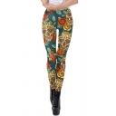 Ladies Sport Mid Rise All Over Skull Floral Pattern Slim Fit Ankle Stretchy Green Leggings
