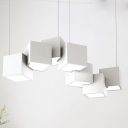 Spliced Cube Cluster Pendant Light Modernist Metallic 8 Heads 25.5