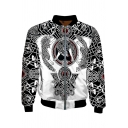 Designer Long Sleeve Stand Collar Zip Up Wolf Floral 3D Pattern Colorblock Loose Fit Baseball Jacket in Black