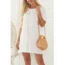 Womens Fancy Short Sleeve Round Neck Lace Trim Cut Out Back Tied Mini Swing Dress in White