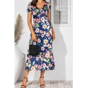 Stylish Fancy Ladies Short Sleeve V-Neck Twist Front All Over Flower Pattern Maxi A-Line Dress