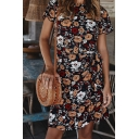 Pretty Ladies Short Sleeve Round Neck All Over Floral Printed Bow Tie Waist Short A-Line Dress