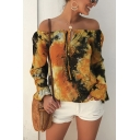 Popular Womens Ruffled Long Sleeve Off the Shoulder Bow Tie Front All Over Floral Tie Dye Relaxed Blouse Top