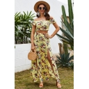 Gorgeous Womens Short Sleeve Off the Shoulder All Over Flower Print Slim Fit Top & Slit Sides Maxi A-Line Skirt Two Piece Sets in Yellow
