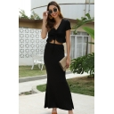 Formal Chic Black Short Sleeve V-Neck Drawstring Ruffled Fit Crop Top Maxi Fishtail Skirt Two Piece Sets for Women