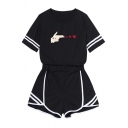 Black Fashionable Short Sleeve Round Neck Letter LOSER LOVER Print Varsity Stripe Loose Tee & Striped Relaxed Fit Shorts