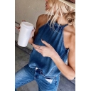 Popular Chic Womens Sleeveless Crew Neck Tied Hollow Out Back Relaxed Fit Denim Tank Top in Blue