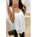 Casual Womens Sleeveless Round Neck Floral Embroidery Mesh Solid Color Loose Tank