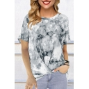 New Trendy Short Sleeve Round Neck Tie Dye Printed Twist Hem Relaxed Fit T Shirt for Women