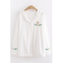 Trendy Girls Long Sleeve Hooded Button Down Fox Embroidered Drawstring Hem Relaxed Cardigan in White