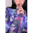 Fancy Womens Long Sleeve Crew Neck Cartoon All Over Printed Contrast Piped Sheer Mesh Slim Fit T-Shirt in Purple