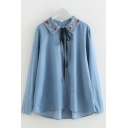 Popular Girls Long Sleeve Lapel Collar Button Down Bow Tie Floral Embroidered Loose Denim Shirt in Blue