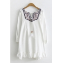 Ethnic Ladies White Long Sleeve V-Neck Bow Tie Floral Embroidered Ruffled Midi Oversize Dress