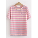 Fancy Girls Short Sleeve Round Neck Floral Embroidered Striped Loose Fit T Shirt