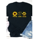 Cool Trendy Womens Rolled Short Sleeve Crew Neck Letter PEACE LOVE DOGS Floral Heart Paw Graphic Fitted Tee in Black