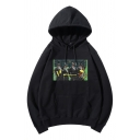 Cool Stylish Boys Long Sleeve Drawstring Funny Cartoon Pattern Loose Fit Hoodie with Pocket