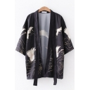 Casual Popular Three-Quarter Sleeve Cartoon Crane Printed Relaxed Fit Sun Protection Kimono Cardigan
