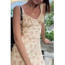 Pretty Womens Sleeveless Allover Floral Printed Ruched Mini A-Line Tank Dress in Yellow