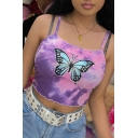 Edgy Looks Girls Sleeveless Butterfly Pattern Stringy Selvedge Tie Dye Slim Fit Cropped Cami Top in Purple