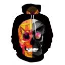 Black Chic Long Sleeve Drawstring Geometric Skull 3D Printed Kangaroo Pocket Relaxed Hoodie