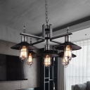 6 Bulbs Chandelier Pendant Light Industrial Wide Flared Metal Caged Hanging Lamp in Black with Clear Glass Shade