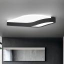 Modern Wave Flush Mount Light Fixture Acrylic LED Bedroom Ceiling Flush in Black, Warm/White Light