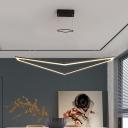 Black Geometric Suspension Light Modern LED Acrylic Chandelier Lamp Fixture in White/Warm Light