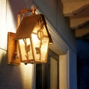 1-Light Wall Light Fixture Farmhouse Outdoor Wall Mount Lamp with House Shape Clear/Frosted/Ribbed Glass Shade in Bronze
