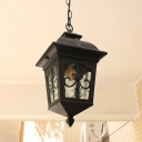 Lantern Metal Ceiling Light Country 1 Light Balcony Hanging Lamp Fixture in Black/Gold with Water Glass Shade